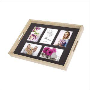 bandeja de madera con fotos