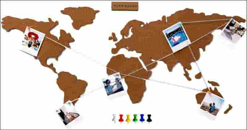 mapa mundi para fotos de viajes