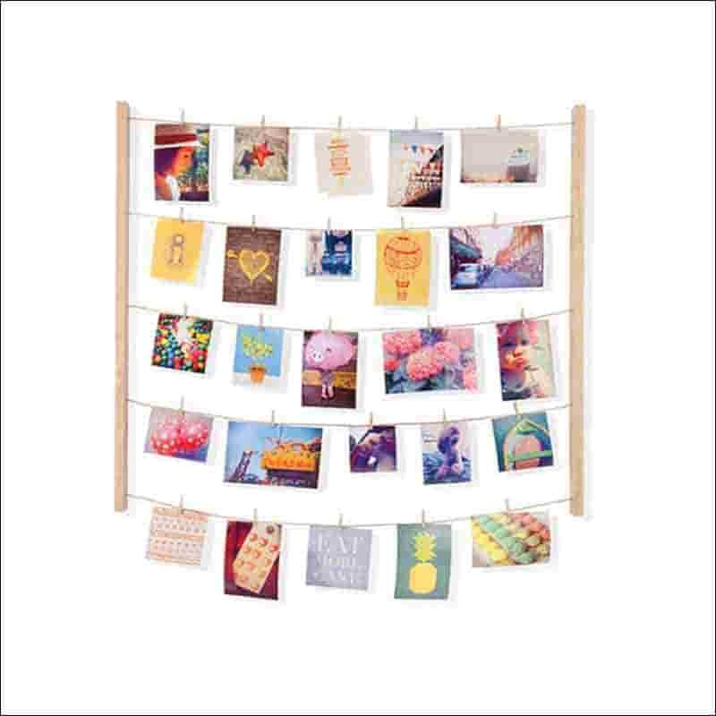 ideas para colgar las fotos con pinzas